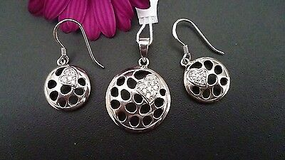 Genuine Solid  925 Sterling Silver Heart Set- Pendant&earrings Made In Italy