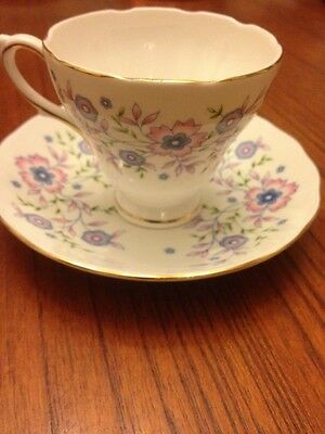 Avon Fine Bone China Blue Blossoms Tea Cup & Saucer Gold Trim Nice