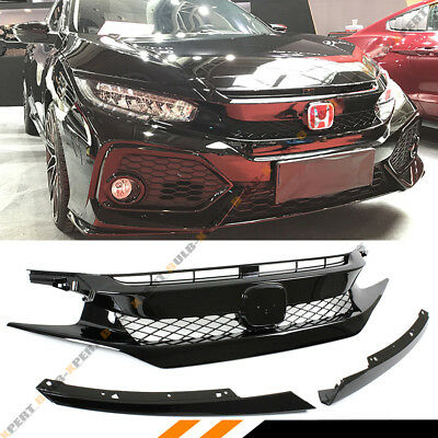 For 2016-18 Civic Sedan/coupe/hatch Gloss Blk Fk8 Type-R Style Front Hood Grill