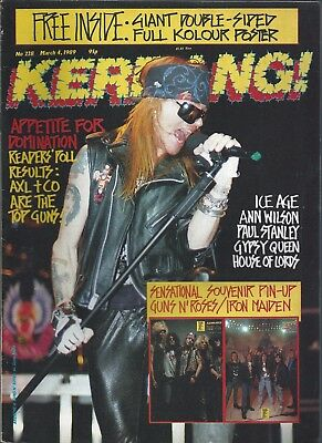 KERRANG! #228 MAR 1989: GUNS N' ROSES Kiss HOUSE OF LORDS Heart GYPSY QUEEN