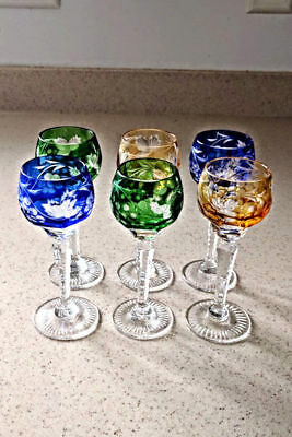 Six Cut Overlay Cut Glass Long Stemmed Cordials