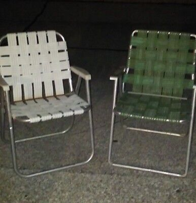 Vintage Aluminum Webbed Folding Lawn Chairs, (2)