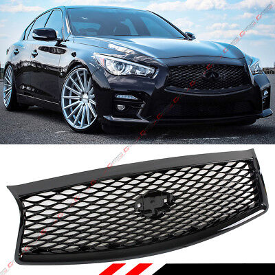 For 2014-2017 Infiniti Q50 Q50S Gloss Black Out Front Hood Grille Replacement