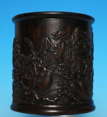 Rare Old Chinese Hand Carved Eight Immortals glaze Bamboo Brush Pot Mark US303
