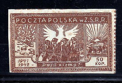 "Poland 1942 Polish Army In Ussr  Fischer# 1  Mlh *  Signed "" Bojanowicz """