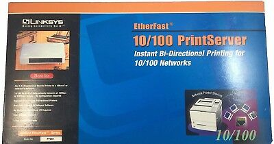 Linksys PPSX1 Ethernet 10/100 1-Port PrintServer   Bi-Directional Parallel Print