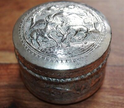Chinese / Indian Silver? Box With Repousse Deer Birds Large Cats Scenic Design
