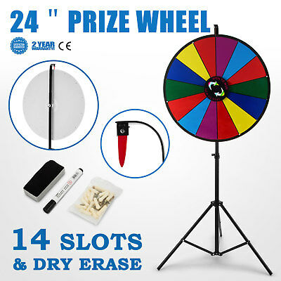 24 inch Tabletop Color Prize Wheel Spinnig Game 14 Slots Parties Mark Pen