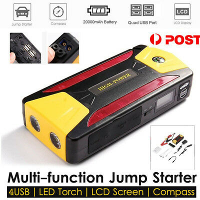 Portable 82800mAh Car Jump Starter 4 USB Power Bank Booster Battery Charger PM