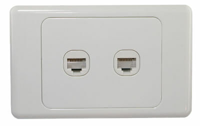2 Gang Wall Plate outlet Clipsal Style RJ45 Cat 6 Data Network LAN Jack