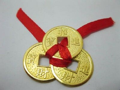 20 Lucky 3 Tied Golden Feng Shui Coin I-Ching Coins 35mm