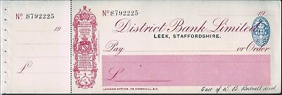 Unused District Bank Ltd Cheque With Counterfoil - Leek Staffordshire C1920/30's
