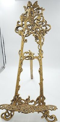 """Large 24"""" Vintage Cast Iron Display Angel Easel Decorative Ornate Table Top 2'"""