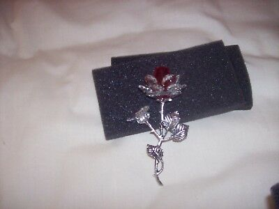 Metal Rose Red In Clear And Red Glass New In Box