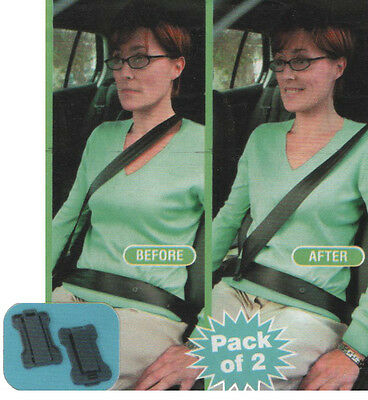 Set Of 2 Car Seat Belt Comfort Strap Adjusters / Supports / Clips Safety Aid