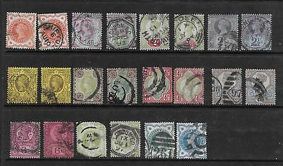 1887 Gb Qv  Jubilee Stamps - Excellent Collation Of 22 With Shades Vfu