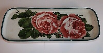 Large Antique Wemyss Pottery Desk Pen Tray or Vanity Tray Dish Decorated Roses