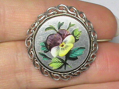 Antique Victorian Sterling Silver PANSY Enamel Brooch