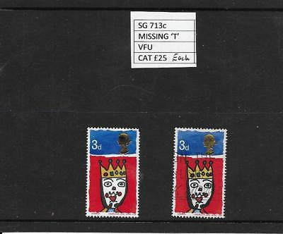 1966 Gb Qeii  Commemoratives Xmas Missing T Excellent Mint & Vfu Example