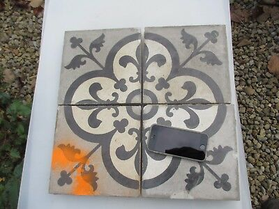 "Large Antique Floor Tiles Ceramic French Victorian Floral Fleur de lis  x4  8""W"