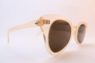 Vintage 40s clear light peach sunglasses original dark tinted lenses women's MED