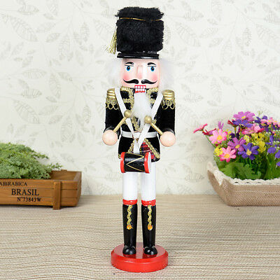 Traditional Style Drummer Soldier Wooden solider on Base Black Hat 30cm