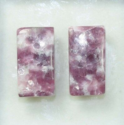 Pair  29.30 Cts. 100 % Natural Lepidolite Untreated Cushion Cab Loose Gemstones
