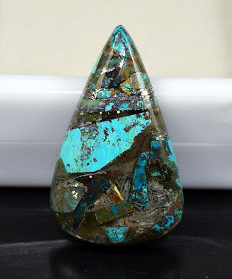 Beautiful ! 17.00  Cts. Natural  Silver  Azurite  Pear  Cab For Silver Pendant