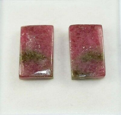 36.00 Cts. 100% Natural Reddish Pink Rhodonite Cushion Cab Matched Pair Gems