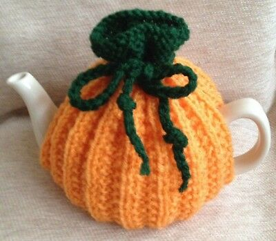 HAND KNITTED SMALL PUMPKIN  TEA COSY  SMALL TEAPOT 2 cup size green/orange
