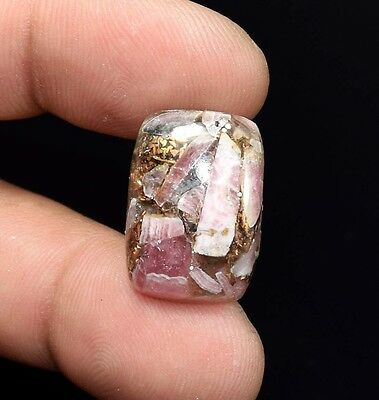 Excellent !  16.75  Cts. Natural Copper Rhodochrosite Cushion Cab For  Pendant