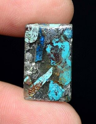 Beautiful ! 5.80 Cts. Natural  Silver  Azurite  Cushion Cab For Silver Pendant