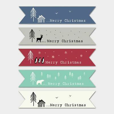 East of India CREAM Ribbon Style Flag Christmas stickers Single of 22 Stickers