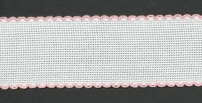 Zweigart 1 Metre White Aida Band 5cm/2 Inch White With a Pink Scalloped Edging