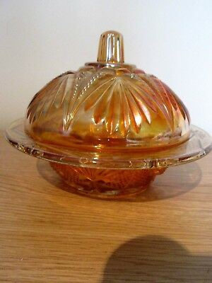 Vintage Amber Carnival Glass Lidded Bowl