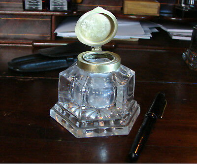 A Large Victorian / Edwardian Cut Glass Inkwell