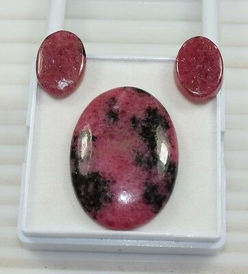 3 Pcs Set ! 75.70 Cts. 100 % Natural Reddish Pink Rhodonite Oval Cab Loose Gems
