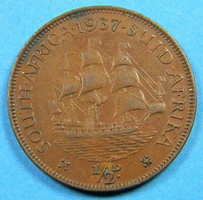 South Africa 1937 1/2 penny coin (0812)