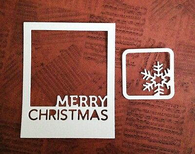 Merry Christmas Selfie Die-cut Frames with Small Snowflake Frame (white)