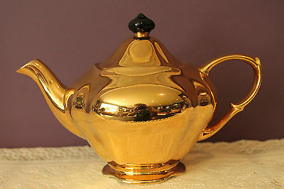 Royal Winton Grimwades 'golden Age' Teapot With Black Finial On Lid England