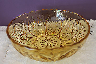 Vintage Amber Indiana Glass Bowl With Scalloped Edge - Sunburst Pattern