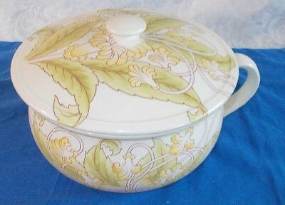 Antique Cauldron England Porcelain Victorian  Chamber Pot With Lid
