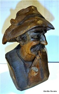 Vintage Black Forest Signed Wood Carving of a Man with Hunter's Pipe
