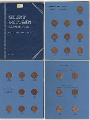 Whitman GREAT BRITAIN FARTHINGS 1937 to 1956 FULL SET 24 Coins Fine some Lustre