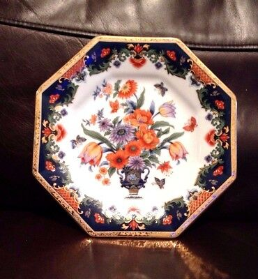 Japanese Imari Octagonal Gilded Plate - Flowers In  Vase With Butterflies - Vgc