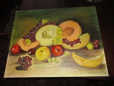 "Vintage signed original oil painting on 16 x 20"" board of still life fruit FINE"