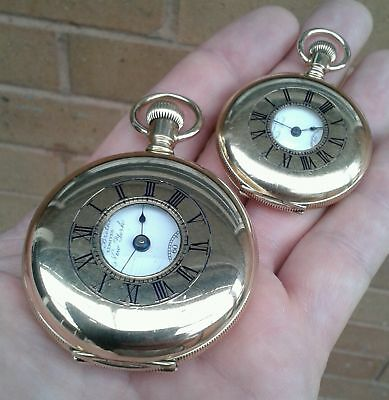 BEAUTIFUL PAIR OF MATCHING,14CT GOLD/FILLED DEMI HUNTER POCKET WATCHES, C 1900s.