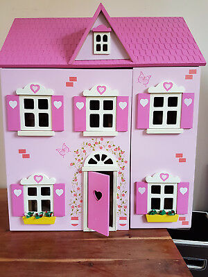 Wooden Dolls House Pink with Characters and Miniature Furniture