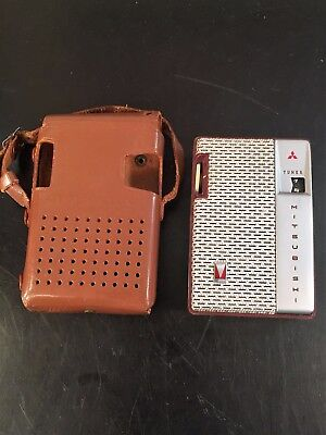 Vintage Mitsubishi Transistor Radio Model 6X-720 with Leather Carry Case