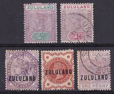 Zululand 1888-91 collection of 5 used